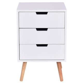 Costway White Side End Table Nightstand w/ 3 Drawers Mid-Century