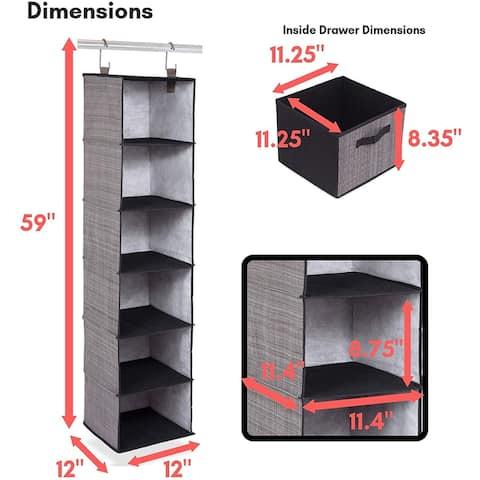 Internet's Best Hanging Closet Organizer with Drawers - 6 Shelf - 3 Drawers - Grey