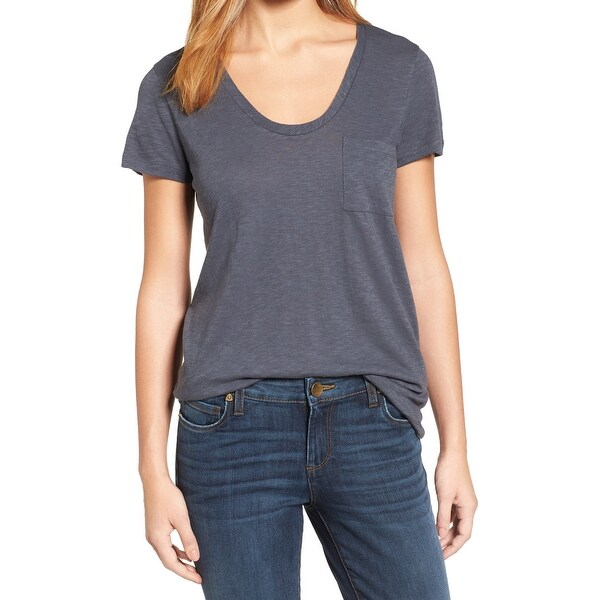 6603a1c8271 Shop Caslon Gray Womens Size Small S Burnout One Pocket Tee T-Shirt - Free  Shipping On Orders Over  45 - Overstock - 28005519