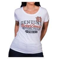 Harley-Davidson Women's Coliseum Studded Short Sleeve Round-Neck Tee, White
