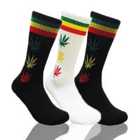 Mens Marijuana Leaf Print Crew Socks 3 Pair Bundle