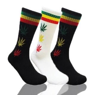 Mens Marijuana Leaf Print Crew Socks 3 Pair Bundle