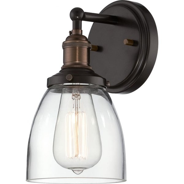 "Nuvo Lighting 60/5514 Vintage 1-Light 9-3/4"" Tall Wall Sconce with Clear Glass Shade - Rustic Bronze - n/a"
