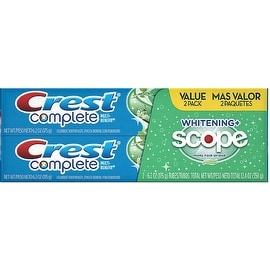Crest Complete Multi-Benefit Whitening + Scope Toothpaste, Value Pack, Minty Fresh 6.20 oz, 2 ea