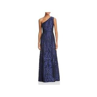 Aidan Mattox Womens Soutache Evening Dress Embroidered One Shoulder