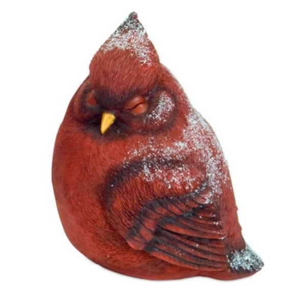 """8"""" Red Snowy Right Facing Cardinal Bird Christmas Table Top Decoration"""