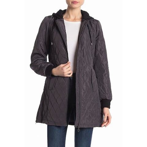 Sebby Gray Womens Size XL Hooded Mini Quilted Zip Front Jacket