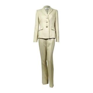 Le Suit Women's Peaked Lapel Three Button Herringbone Pant Suit