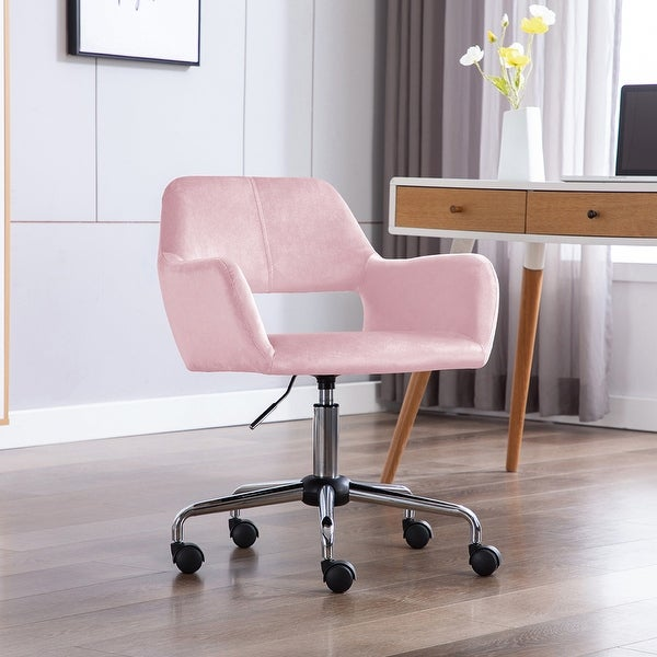 Porthos Home Pepa Swivel Office Chair with Armrests, Suede Upholstery. Opens flyout.