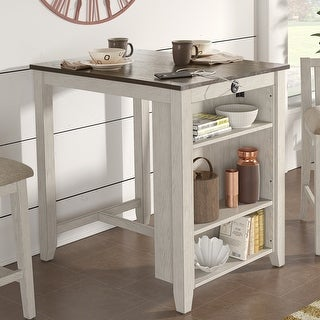 Link to Beck Wood Counter Height Dining Table with USB by iNSPIRE Q Classic Similar Items in Dining Room & Bar Furniture