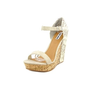 Not Rated Isabella Women Open Toe Canvas Ivory Wedge Sandal