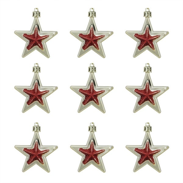 9ct Gold and Red Glittered Shatterproof Star Christmas Ornaments 2.75""