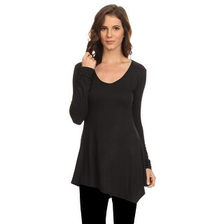 Women's Long Sleeve Ribbed Shirt Handkerchief Hem Tunic