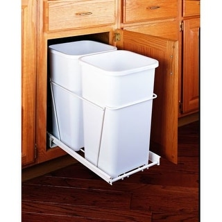 "Rev-A-Shelf RV-15PB-2 S RV Series Bottom Mount Double Bin Trash Can for 15"" Base"