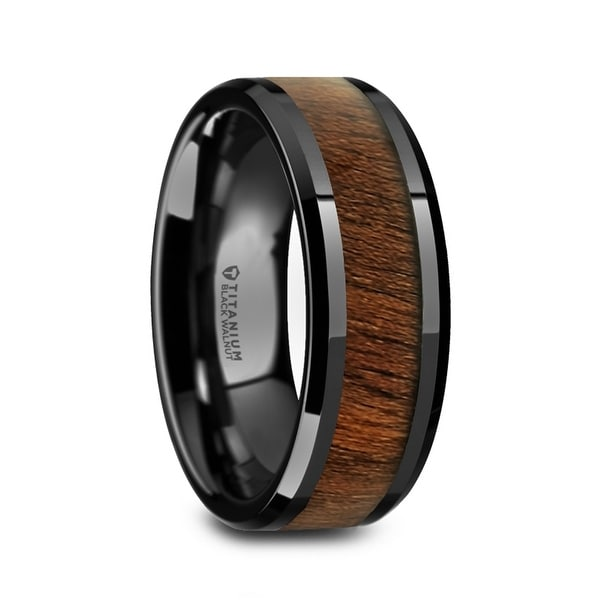 KONY Black Titanium Walnut Wood Inlay Mens Wedding Ring 8mm