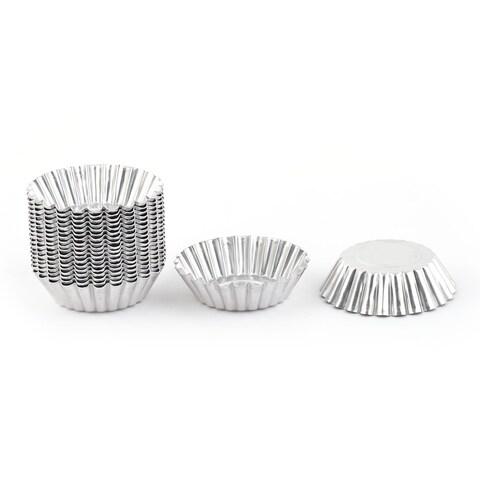 Unique BargainsFamily Baking Aluminium Alloy Flower Shaped Cake Egg Tart Mold Silver Tone 20pcs
