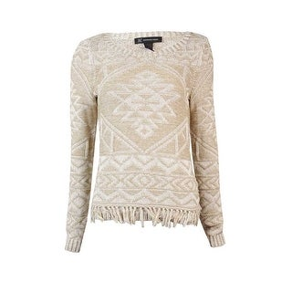 INC International Concepts Women's Intarsia Fringe Sweater