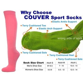 Pink Couver Knee High Unisex Sports Athletic Baseball Softball Socks(3 Pairs)