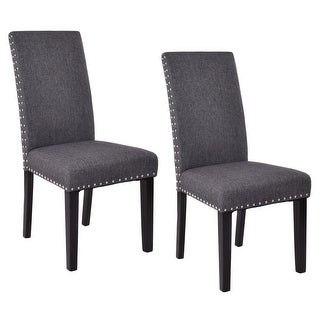 Costway Set of 2 Dining Chairs Fabric Upholstered Armless Accent Home Kitchen Furniture