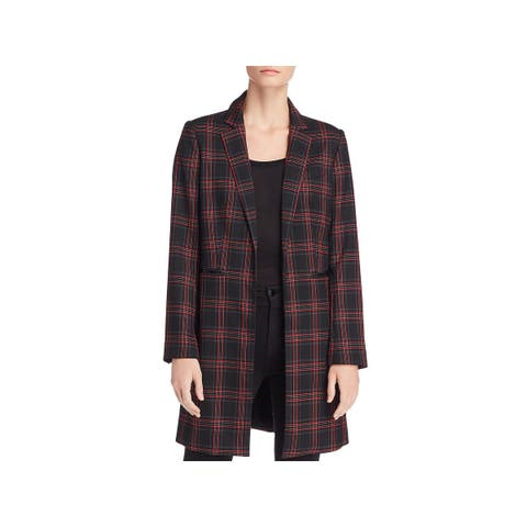 Kenneth Cole New York Womens Open-Front Blazer Long Plaid