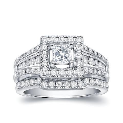 Auriya 14k Gold 1 3/8ctw Princess-cut Diamond Halo Engagement Ring Set