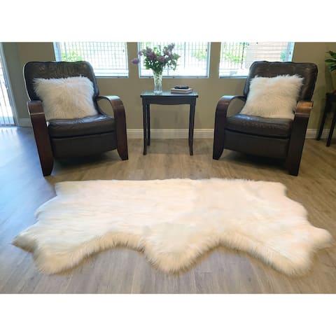 "Highland Select Natural Long Wool Sheepskin 3 Pelt Shag Rug - 3' x 4'6"""