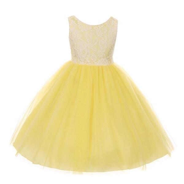 b2c2ada744e Shop Kids Dream Little Girls Yellow Lace Tulle Sleeveless Easter ...