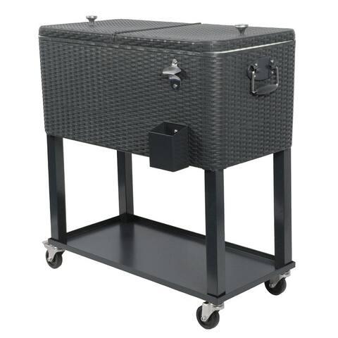 80 Quart Rolling Outdoor Patio Cooler Cart on Wheels, Wicker