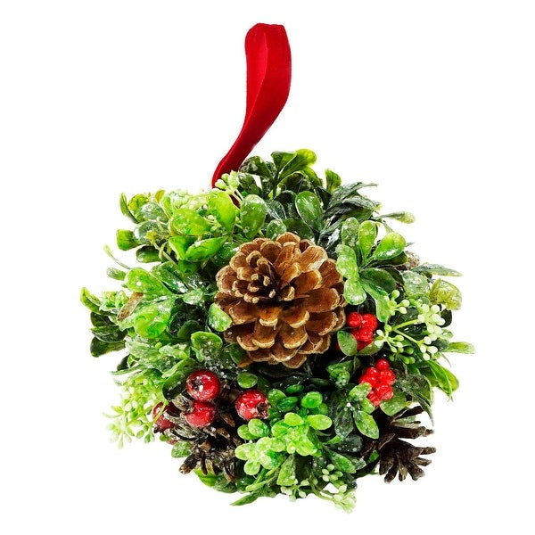 "7"" Glittered Artificial Boxwood, Berry & Pine Cone Christmas Kissing Topiary Ball"