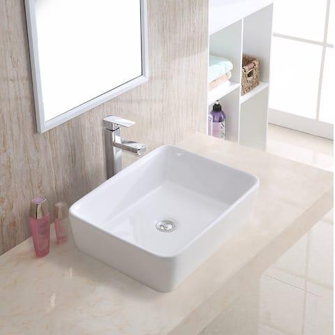 "Karran VC-501-WH Valera 19"" Vitreous China Vessel Bathroom Sink in White"