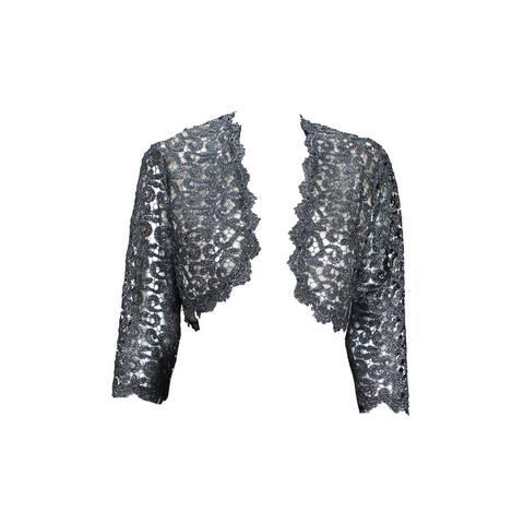 XScape Black Metallic /-Sleeve Crochet Bolero - MEDIUM
