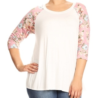 Women Plus Size Solid Raglan Floral Sleeve Knit Top Tee Blouse Shirt Pink
