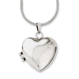 Chisel Stainless Steel Polished Heart with CZ Locket 20in Necklace (2 mm) - 20 in