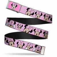 Minnie Mouse Face Fcg Pink Polka Dot Black Chrome Minnie Mouse Web Belt