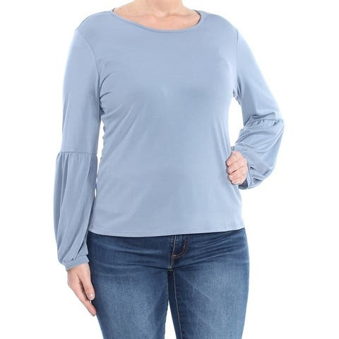 CECE Womens Blue Puff Sleeve Jewel Neck Top Size L