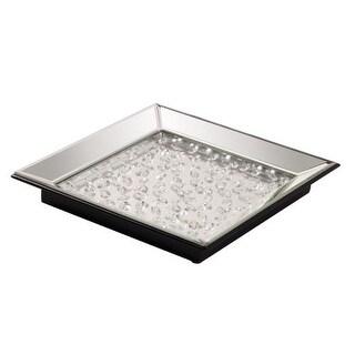 "Howard Elliott Mirrored Tray with Crystal Accents 13.5"" Wide Glass Tray - mirrored / crystal accents"