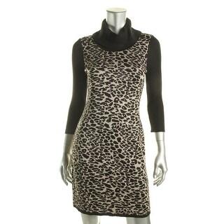 Calvin Klein Womens Petites Metallic 3/4 Sleeves Sweaterdress