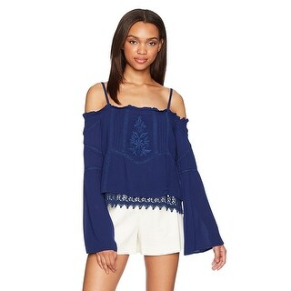 GUESS Rye Embroidered Off The Shoulder Blouse Top Blue Depths - m