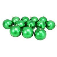 "12ct Xmas Green Shatterproof Shiny UV-Resistant Christmas Ball Ornaments 4"" (100mm)"
