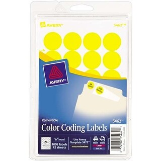 "Yellow; .75"" Round - Avery Print/Write Self-Adhesive Removable Labels 1008/Pkg"