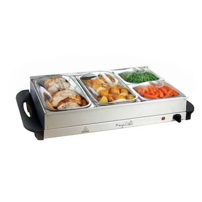 MegaChef Buffet Server & Food Warmer Tray Holder with Four Sections