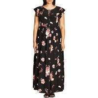 City Chic Womens Plus Maxi Dress Floral Print Keyhole