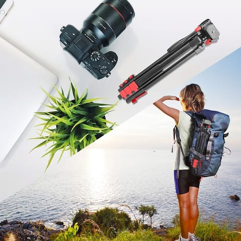 Portable Tripod with Phone Clip and Bluetooth Remote Black & Red