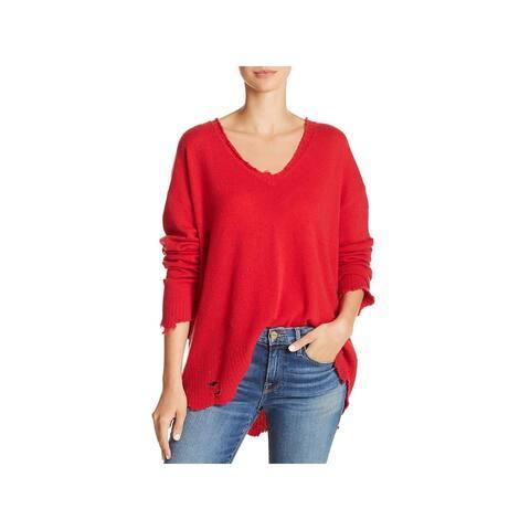 Current/Elliott Womens Juniors Pullover Sweater Wool Distressed