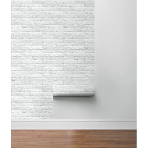 "Sausalito, Limestone Brick 18' x 20.5"" Peel & Stick Wallpaper Roll"
