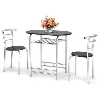Costway 3 PCS Bistro Dining Set Table and 2 Chairs Kitchen Furniture Pub Home Restaurant - Black