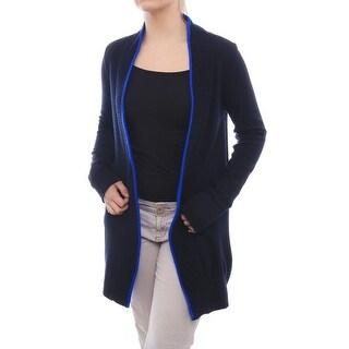 Magaschoni Long Sleeve Open Front Cardigan Women Regular Sweater