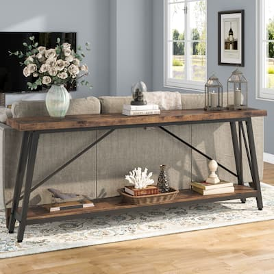 70.9 Inch Extra Long Sofa Table Behind Couch, Industrial Entry Console Table