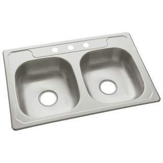 "Sterling 14633-3 Middleton 33"" Double Basin Drop In Stainless Steel Kitchen Sink - Stainless Steel"