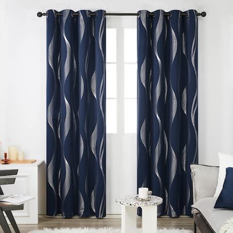 Deconovo Blackout Silver Wave 52 Width Curtain Panel Pair